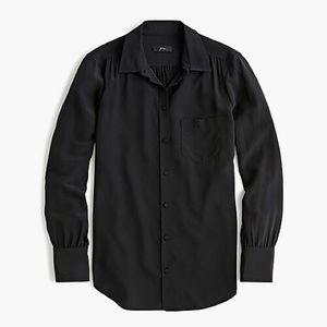 Jcrew Black Silk Button down